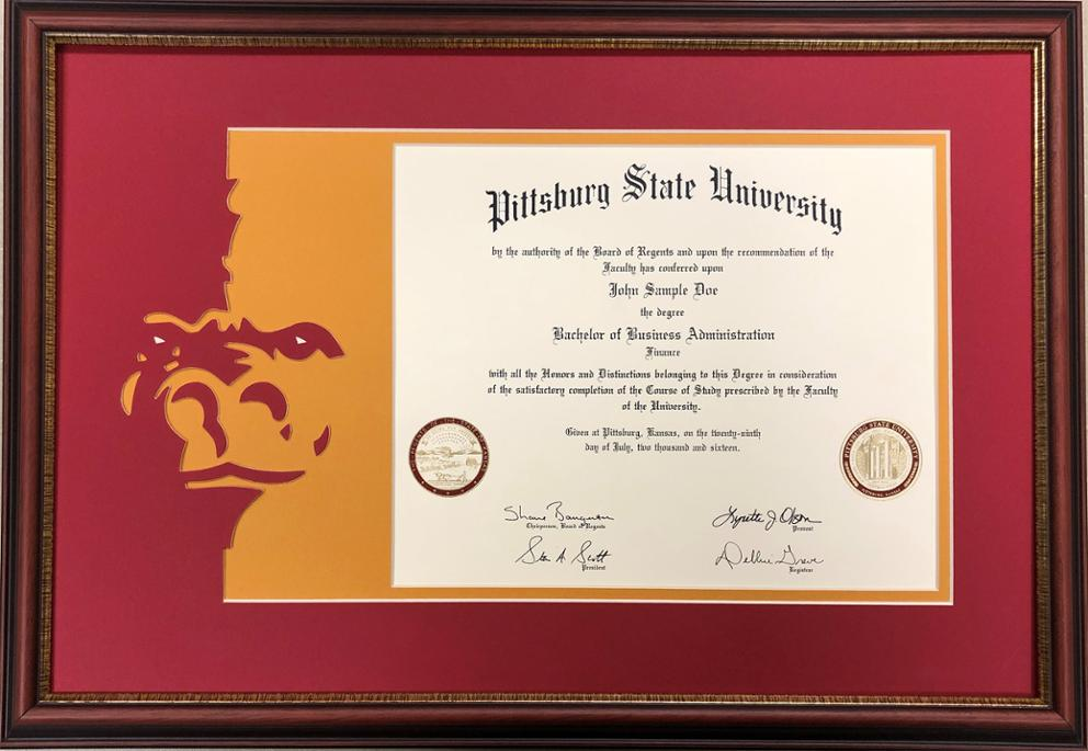 Cherry 16 x 16 Professional//Doctor Sculpted Foil Seal Name /& Tassel Graduation Diploma Frame Signature Announcements Pittsburg-State-University Undergraduate